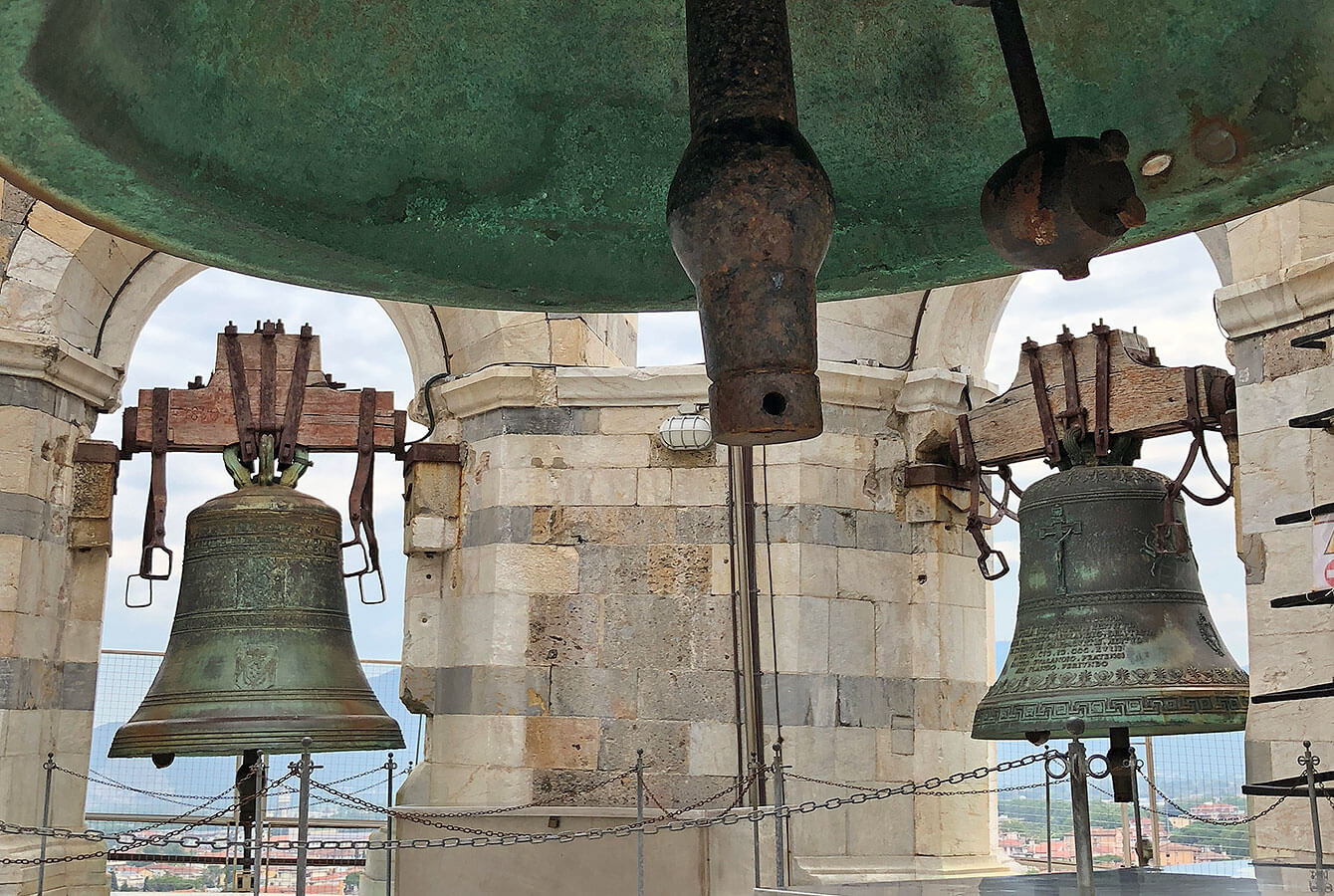Bells at the top of the Leaning Tower in Pisa, Tuscany, Italy