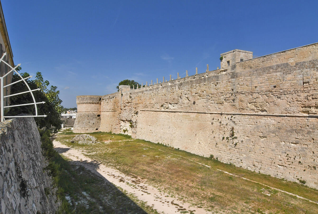 Side view of the Otranto City walls and the Torre Ippolita