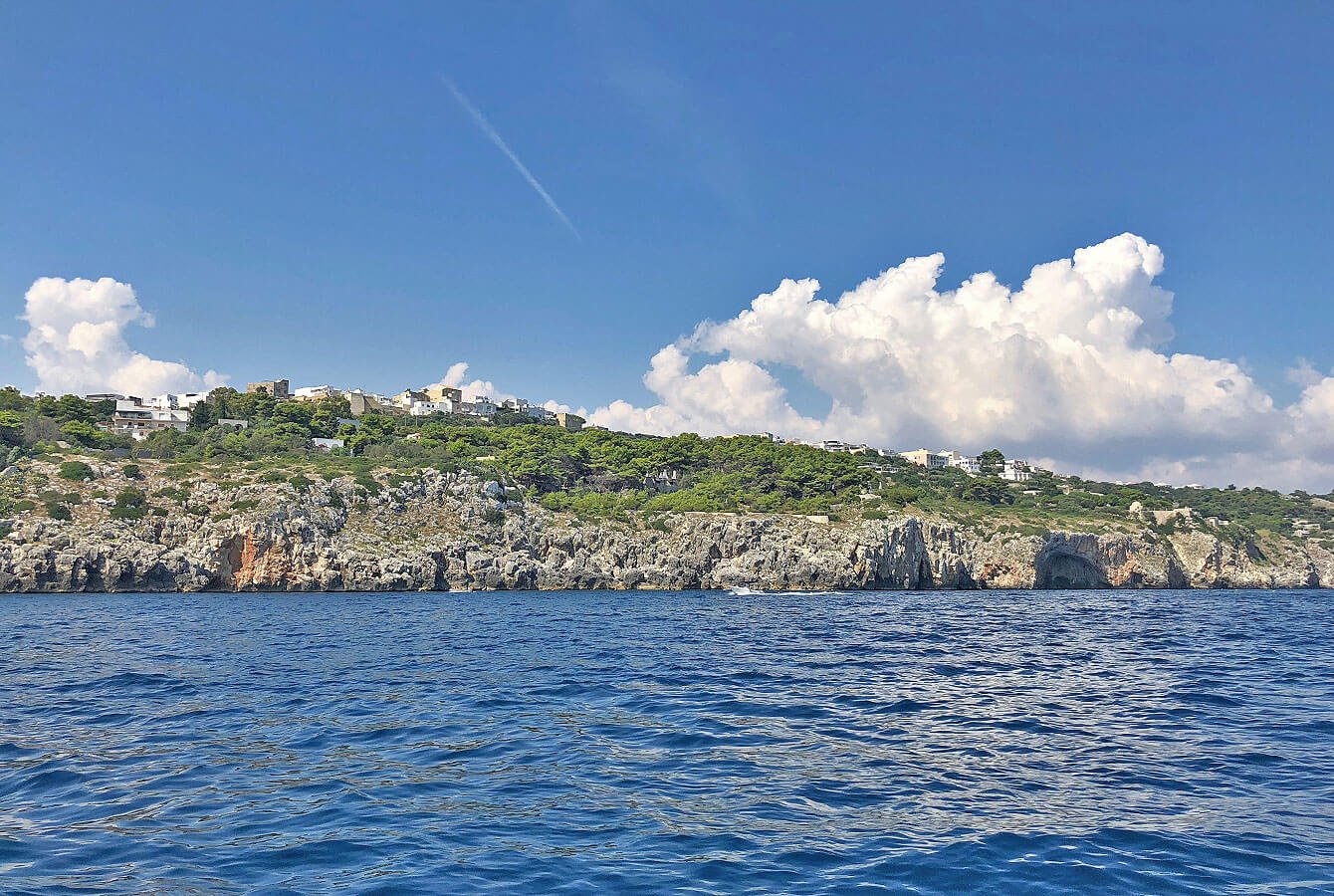 Boat cruising along the Adriatic Sea