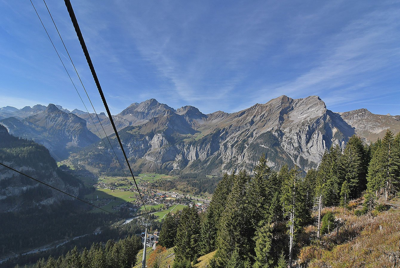 The Oeschinen valley with the cable car from Kandersteg - Switzerland