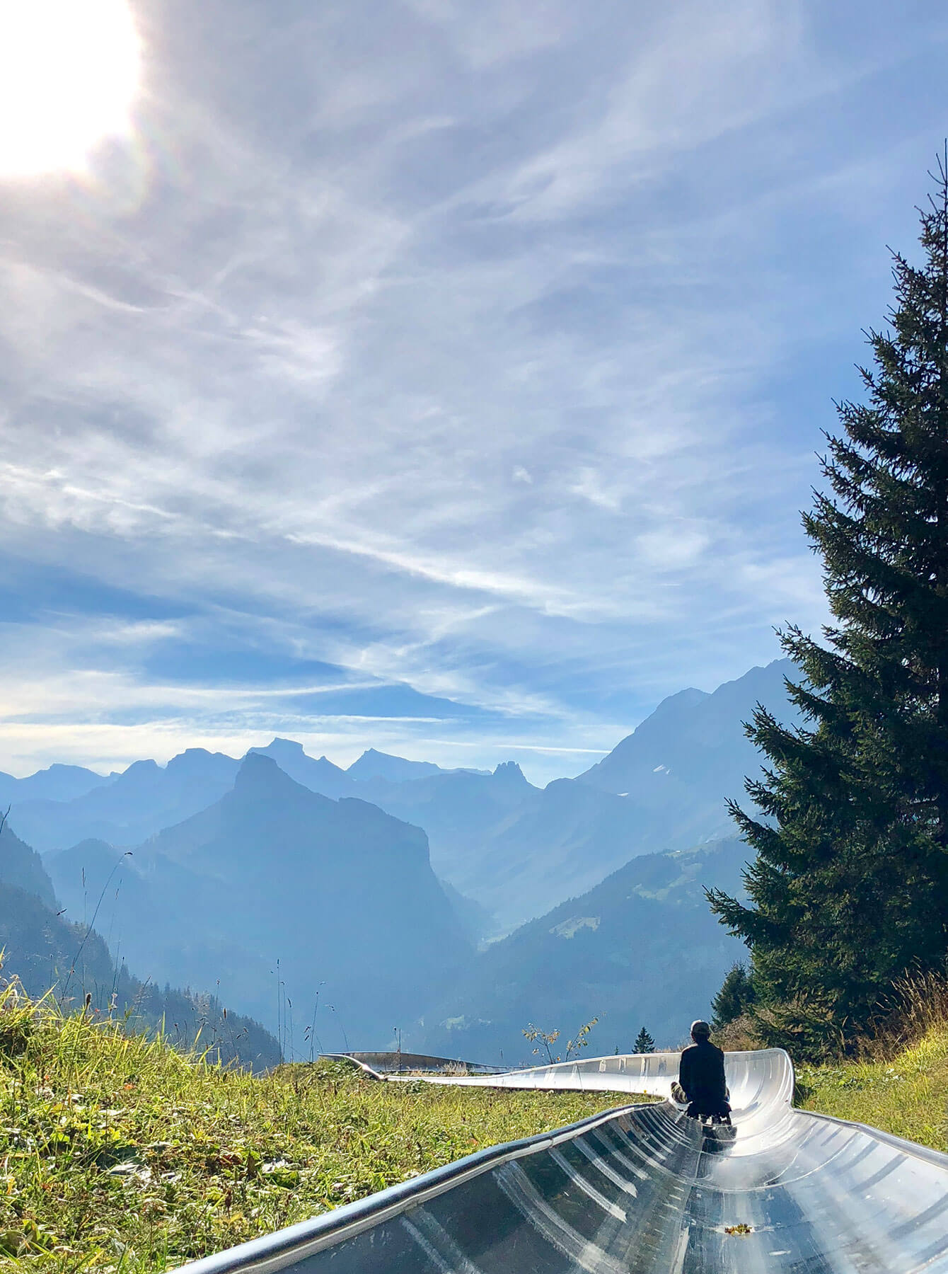 Amazing view at the Oeschinen summer tobogganing run