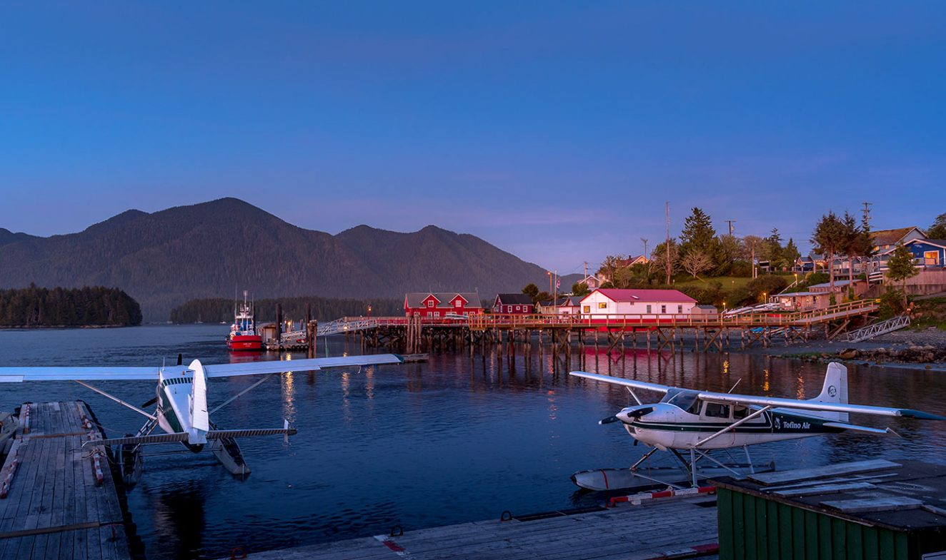 tofino village in sunset lights