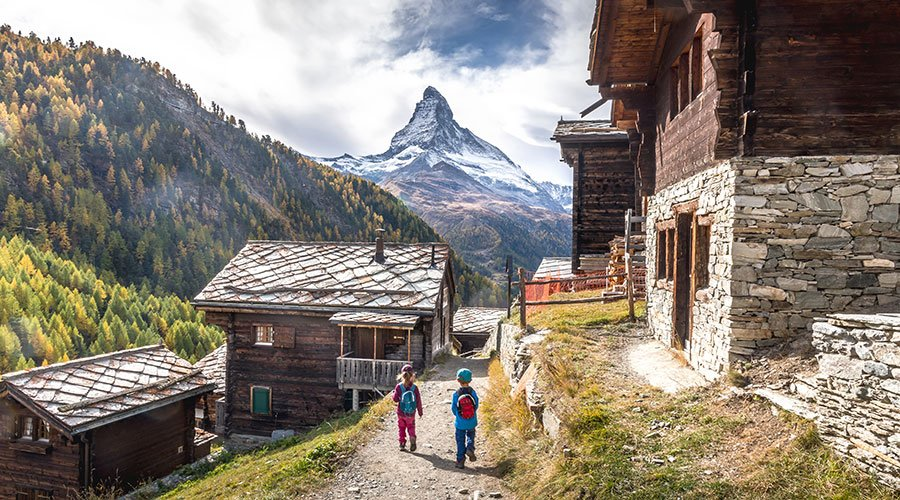 kids hiking in Findeln Hamlet Zermatt