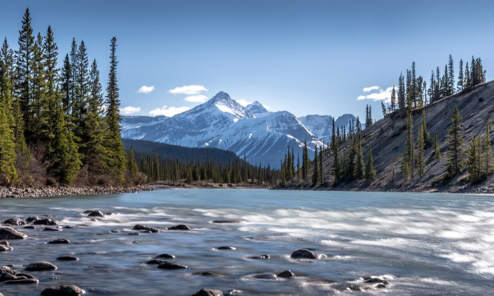 photography shot of Howse River und Mount Forbes