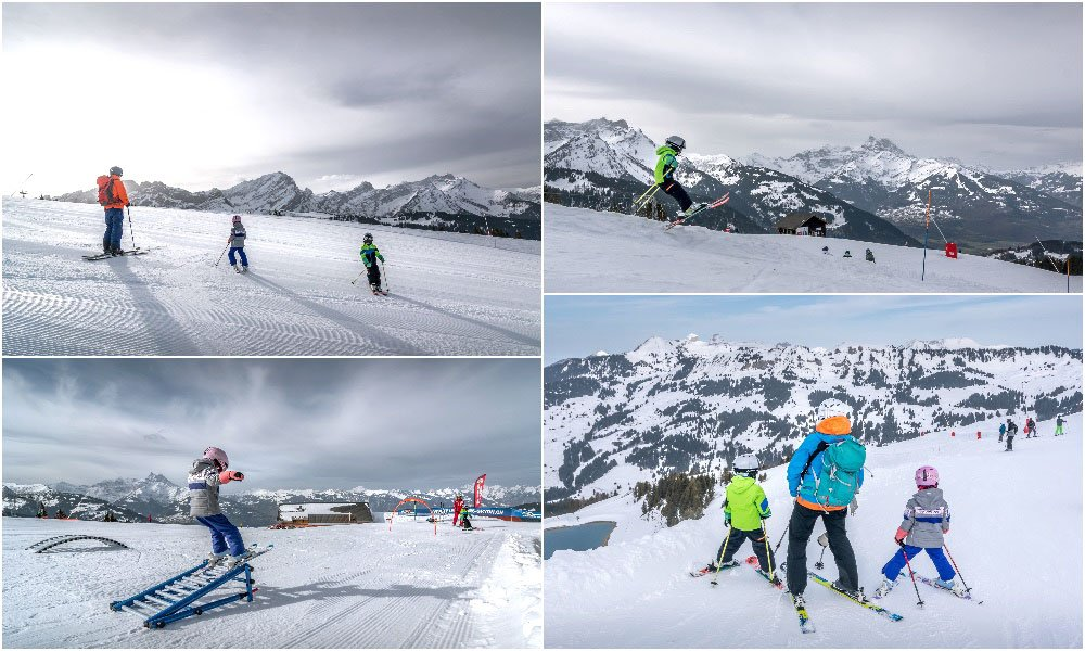 family skiing in Gryon Villars Switzerland