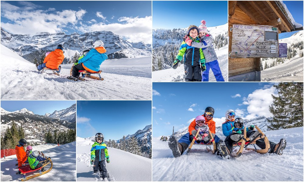 family sledging in Les Diablerets Switzerland