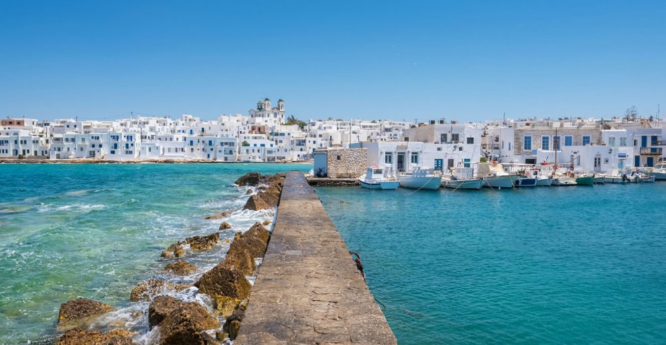 Greece village at the beach with white houses