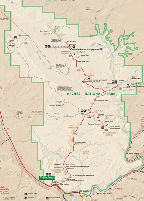 map of the Arches National Park