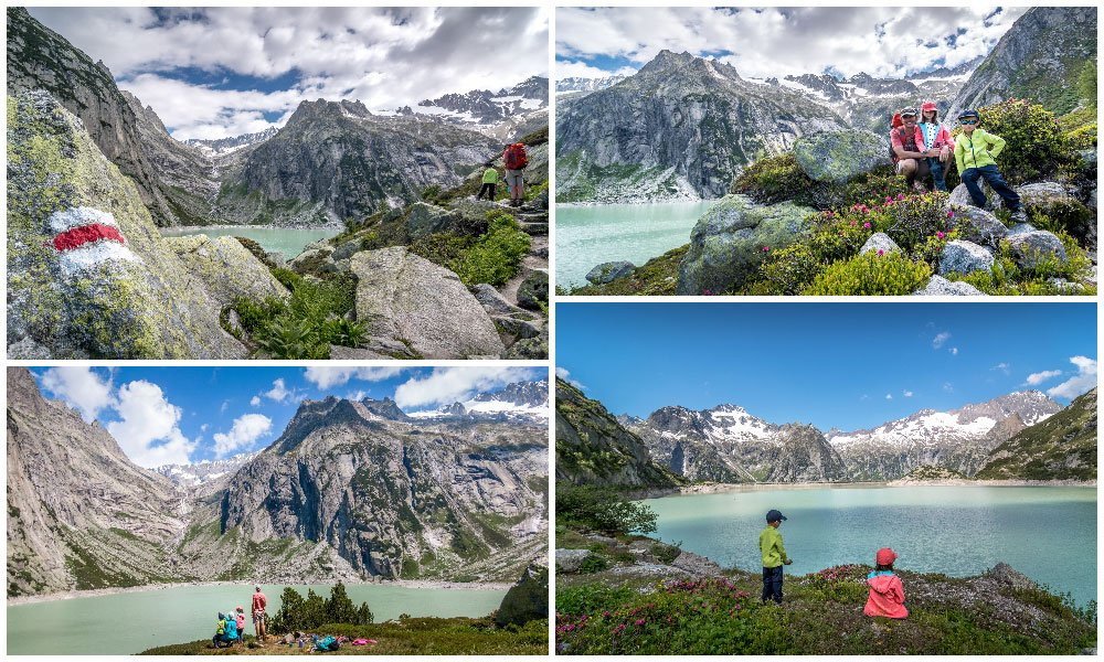 different Gelmersee views from the hike