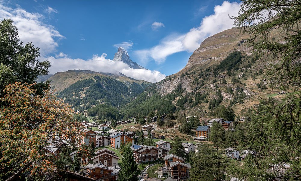 view of Zermatt village from the back side