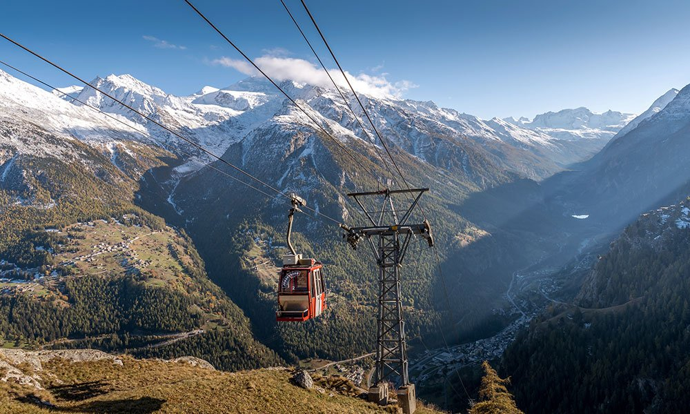 Jungen Bahn with view ofer the Mattervalley Valais