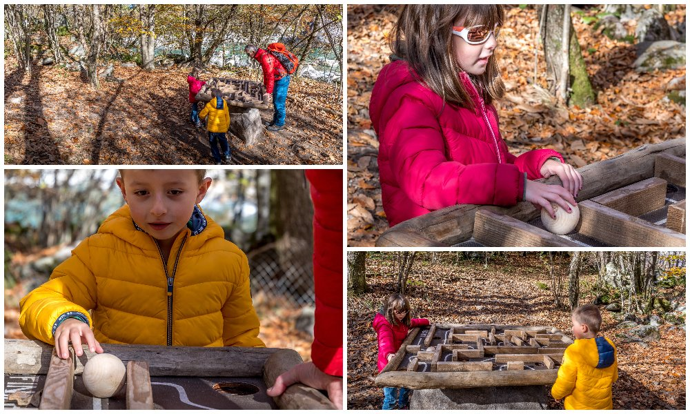 kids playing at the bobosco trail in Verzasca