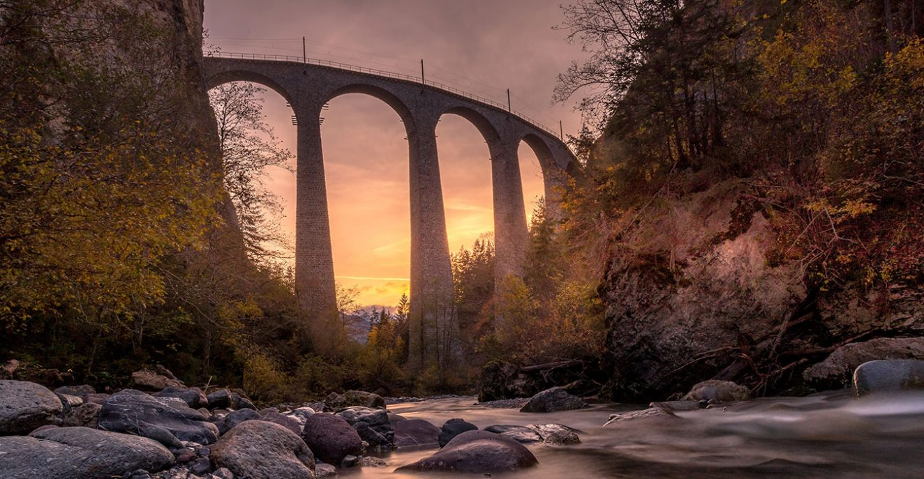 sunset at the landwasser viaduct best time to photograph