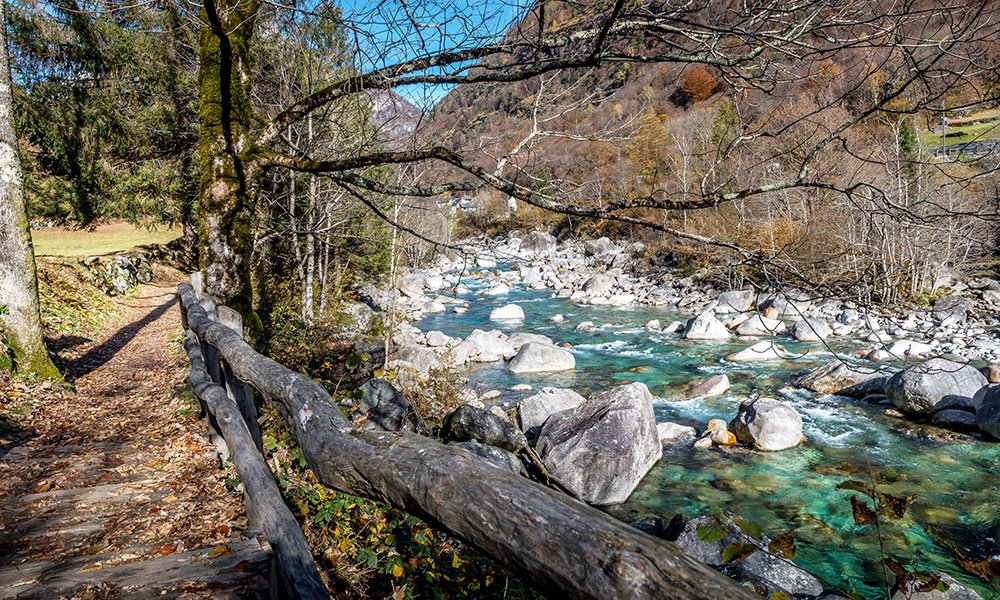 trail along the bobosco theme trail in verzasca