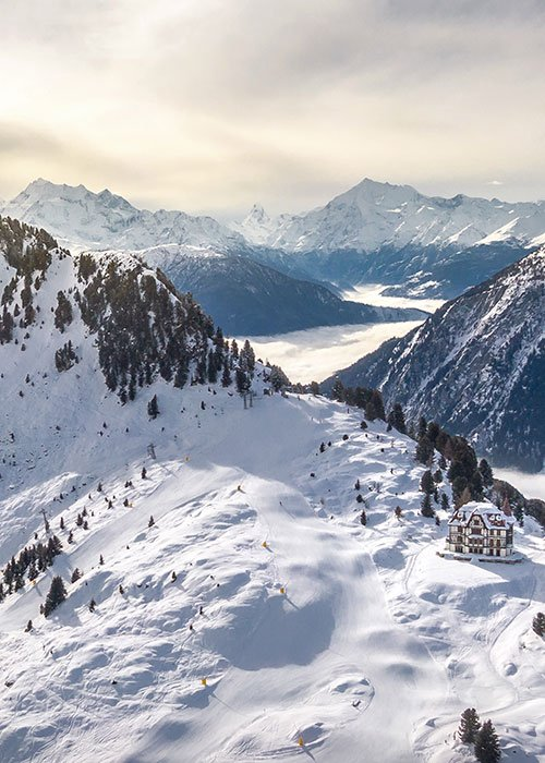 areal view Riederalp in Aletsch Arena