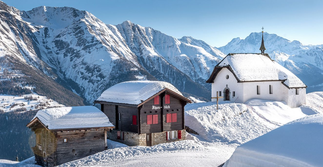 winter in Bettmeralp image Maria zum Schnee Chapel