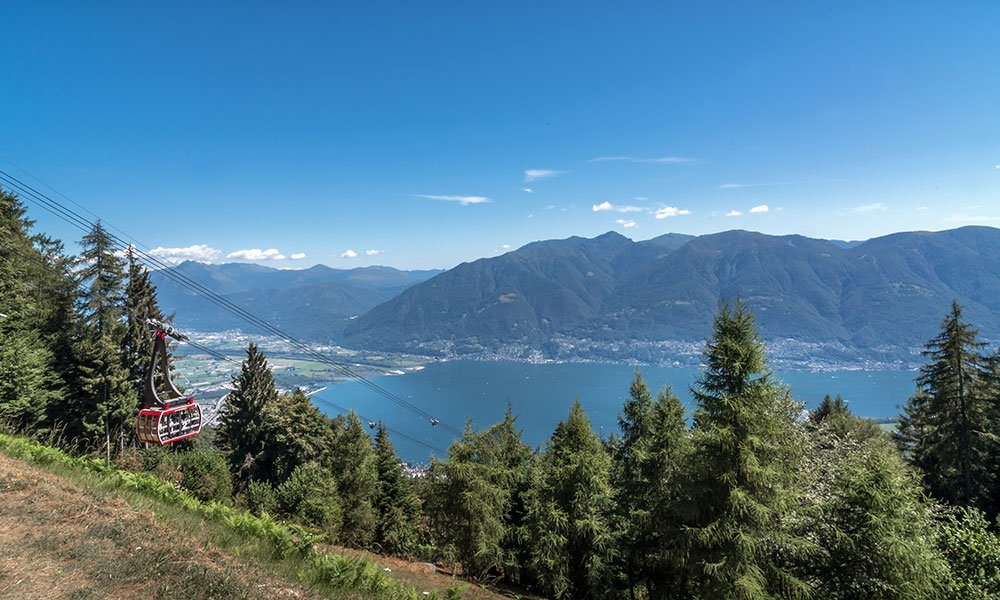 View from Cardada down on to largo maggiore in Ticino Switzerland