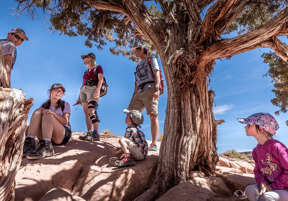 people standing under a shady tress whilst hiking delicate arch in Moab