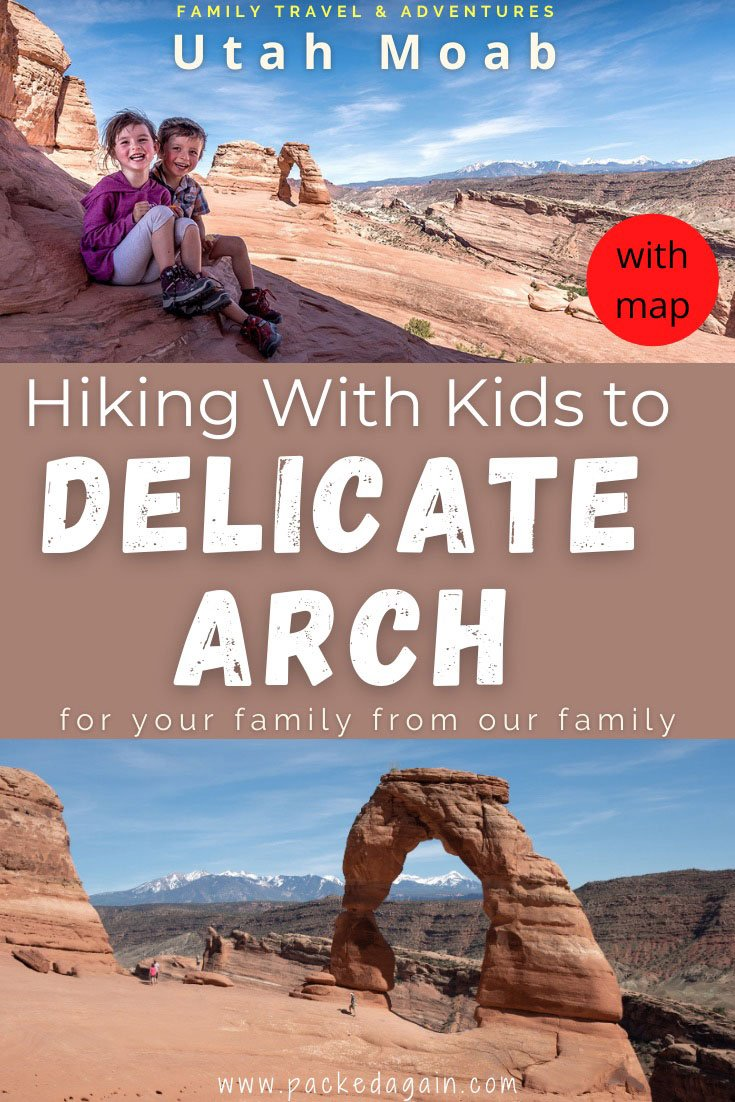 kids sitting ba Delicate Arch after hiking delicate arch