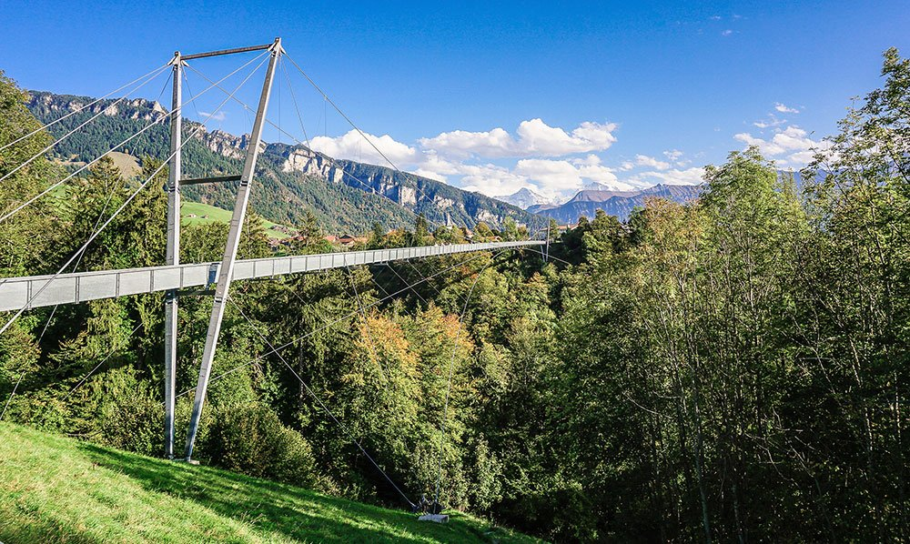 view of the Suspension Bridge in Sigriswil - Bern