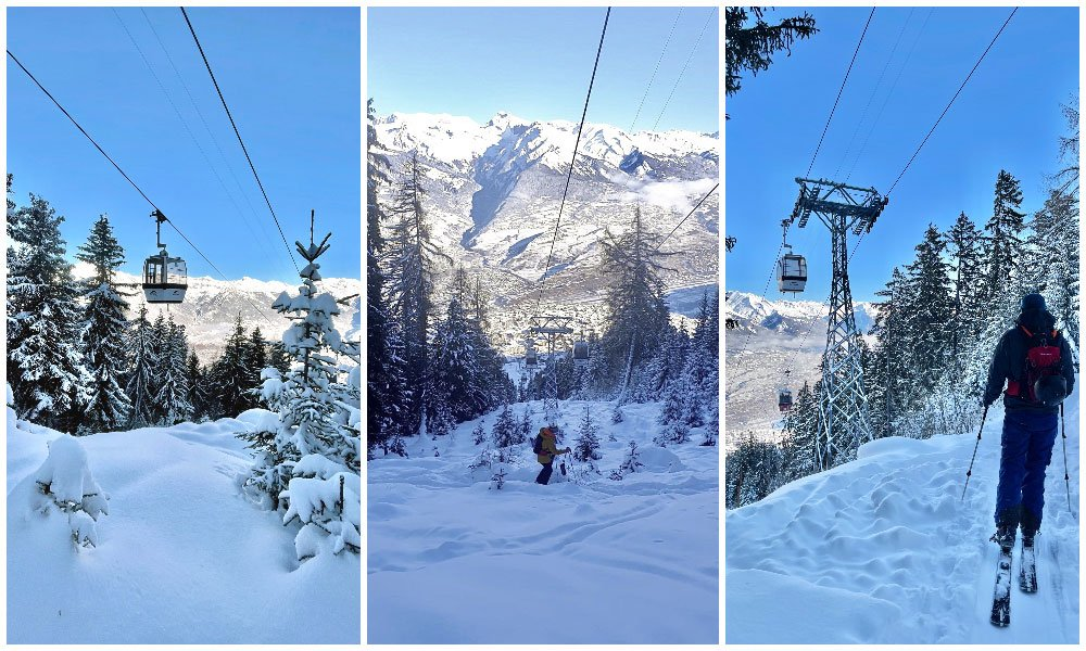 winter images of the ski touring and snowshoe tracks in Nendaz