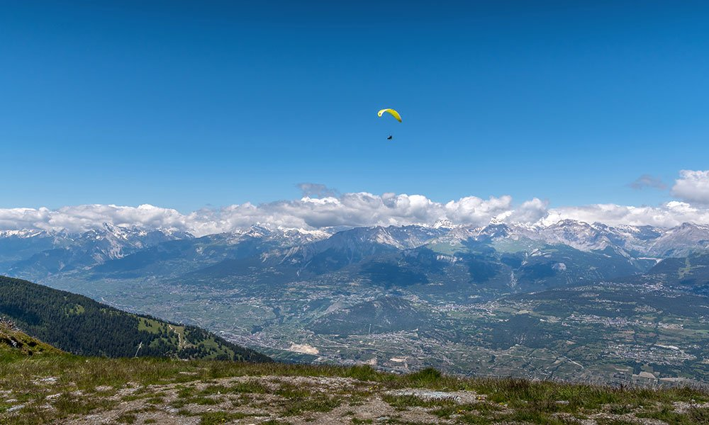 view from Crêt du midi – Vercorin down over the Rhone valley