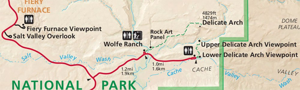 map of hike to delicate arch in arches national park