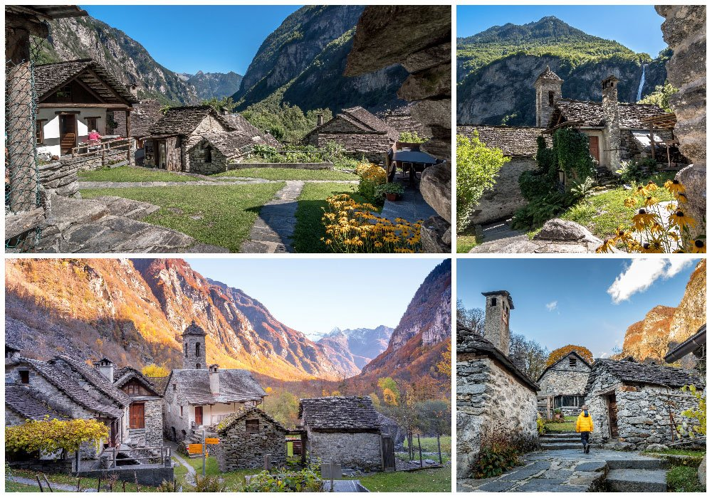 Foroglio Village in Maggia Tal Ticino Switzerland showing in Summer and Autumn.