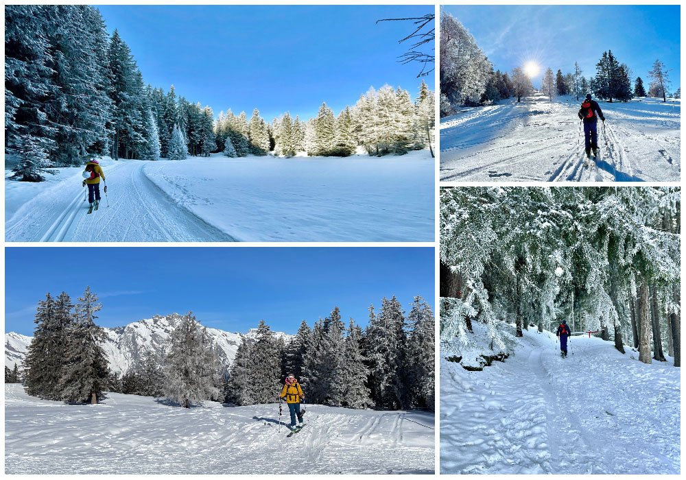woman skitouring and snowshoeing in nendaz
