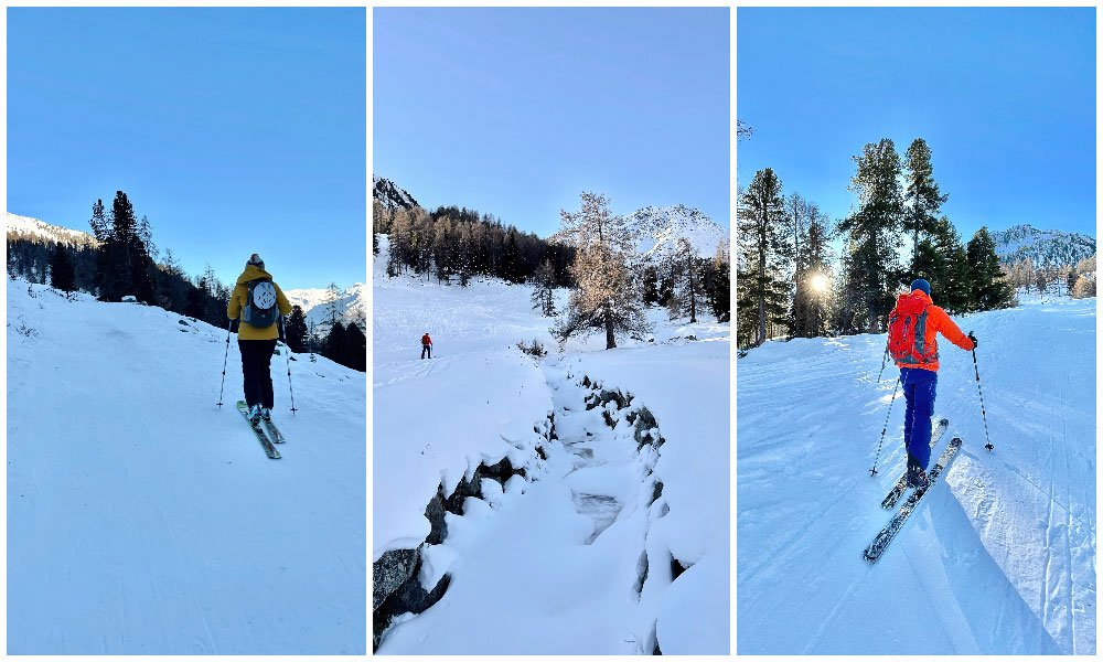 person ski touring up a track in Nendaz