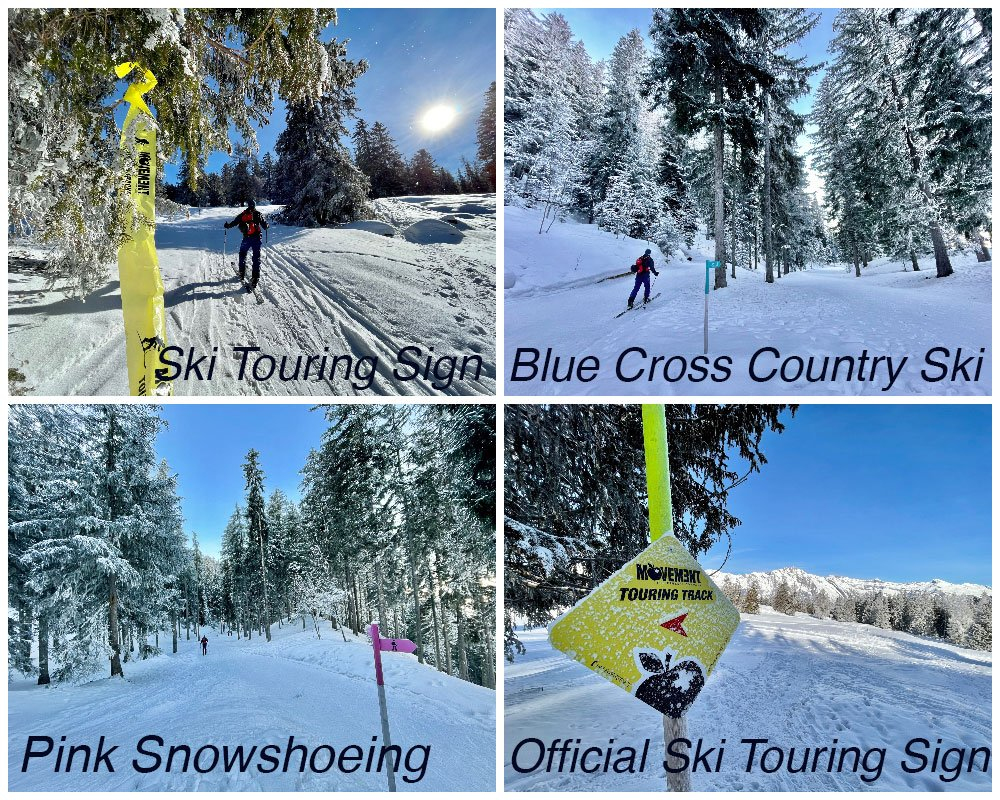 ski touring and snowshoeing track signs in nendaz