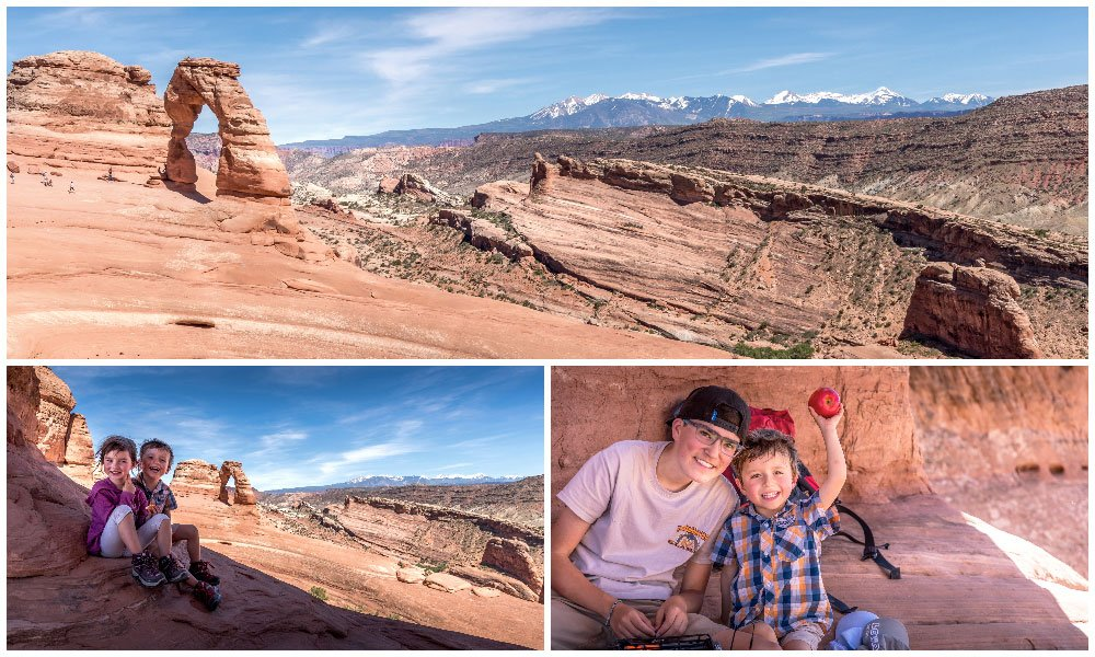 family happily sitting in the shade whilst hiking to delicate arch