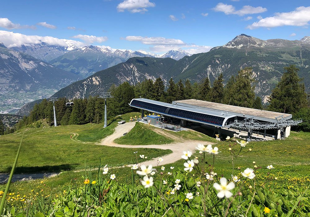 cable car station Sigeroulaz in Vercorin Valais during a sommer day