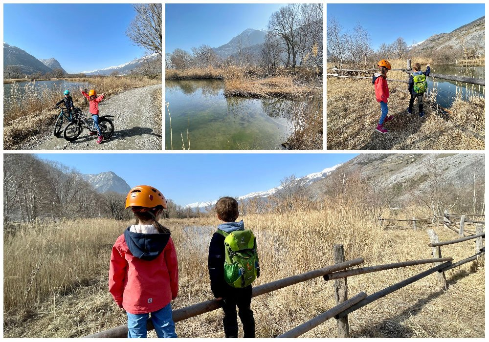 children in nature park on easy family bike route in valais