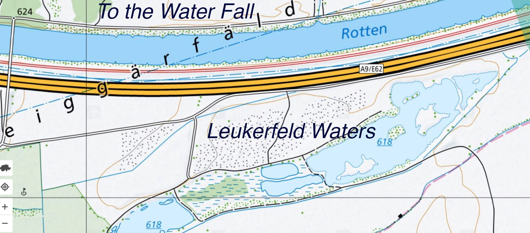 map of the Leukerfeld water bird watch area