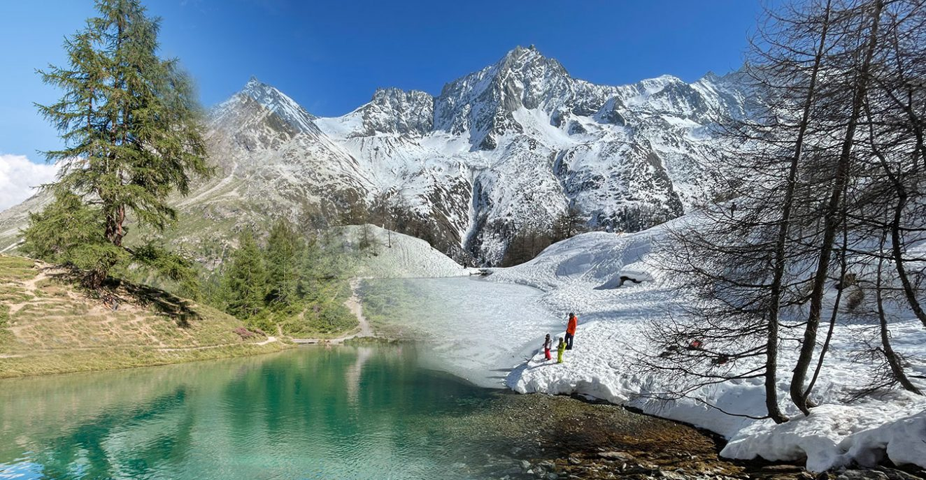 winter summer collage of Lac Bleu in Arolla