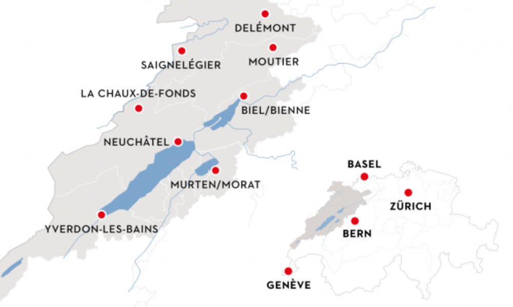 map of lac Neuchâtel and 3 lake region